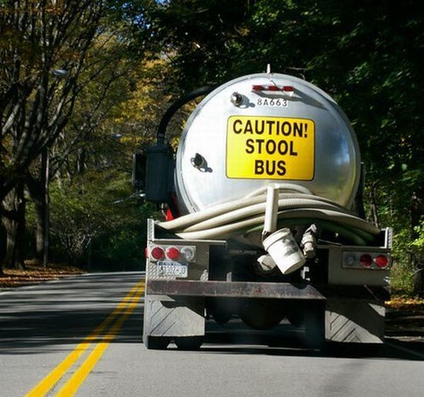 funny trucking tanker signs caution stool bus