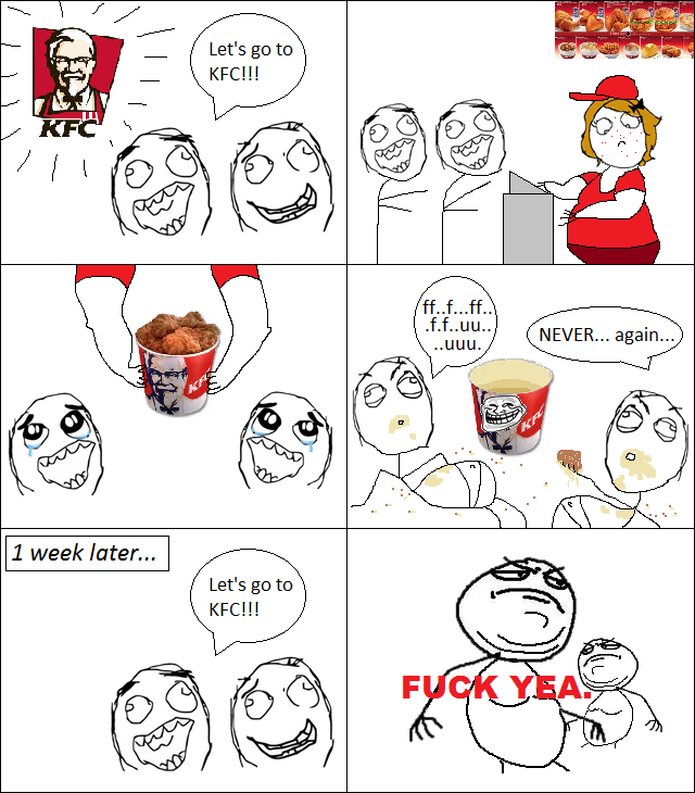 ffffuuuu rage comic kfc kfc chicken eating food humor funny comic the funny 20 rage comics,Meme Funny Comics