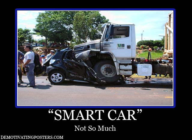 Car accident smart car accidents two trucks