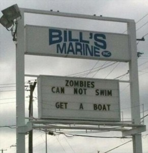 zombies can not swim sign
