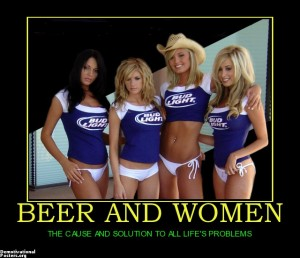 beer and women, demotivational posters
