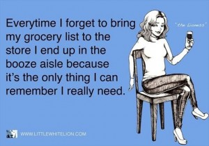 funny grocery lists, wine