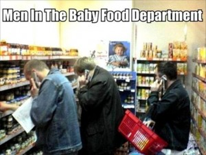 men in the baby food department funny