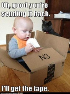 baby in a box, funny baby