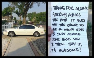 note on car, funny pictures
