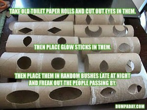 glow stick in toilet paper rolls