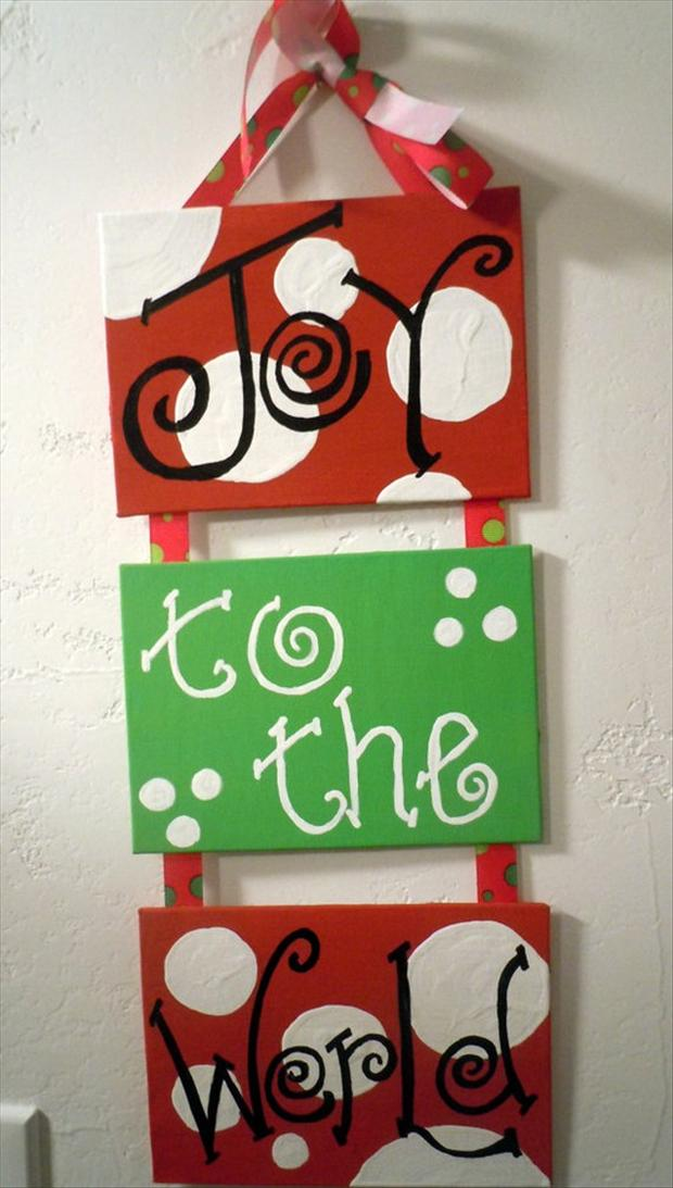 Christmas crafts 30 pics for Christmas canvas painting ideas