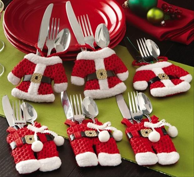 christmas craft ideas, silverware holders