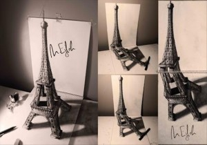 Anamorphic 3D Drawings- Eiffel Tower angles