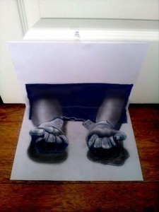 Anamorphic 3D Drawings- Handcuffed