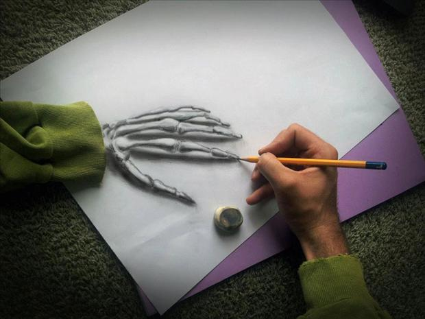 Anamorphic 3D Drawings- Skeleton Hand