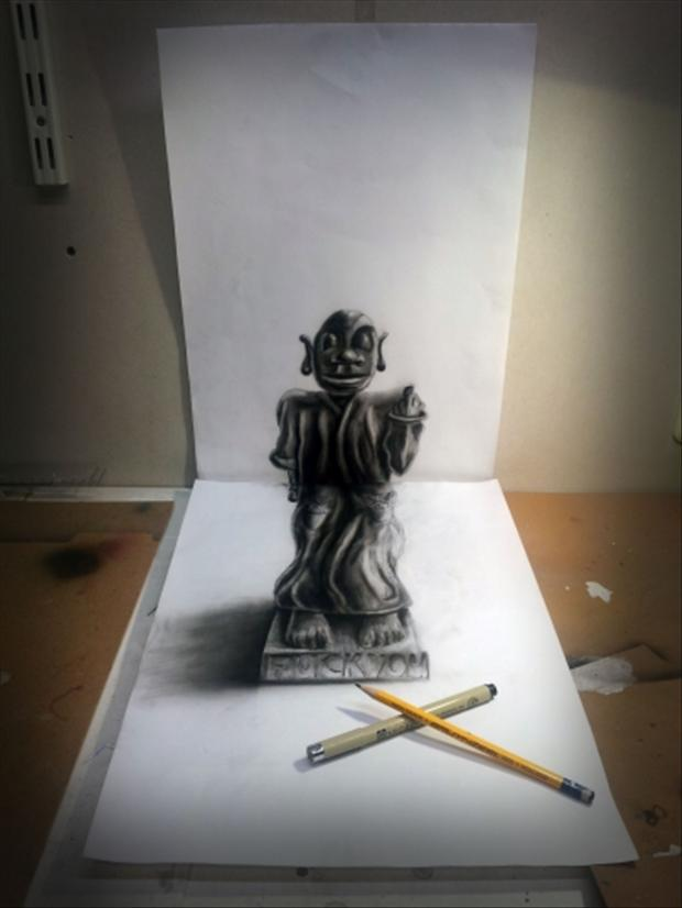Anamorphic 3d Drawings Statue Dump A Day