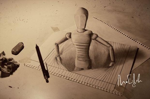 Anamorphic 3D Drawings- Through the paper