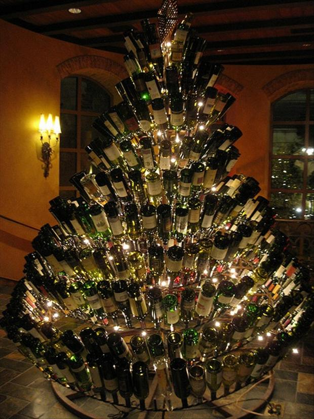 Unusual christmas trees wine bottle tree dump a day for How to make a wine tree
