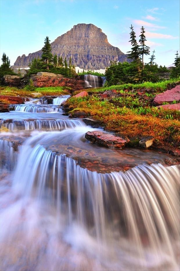 Waterfall glacier national park dump a day for Most beautiful places in america nature