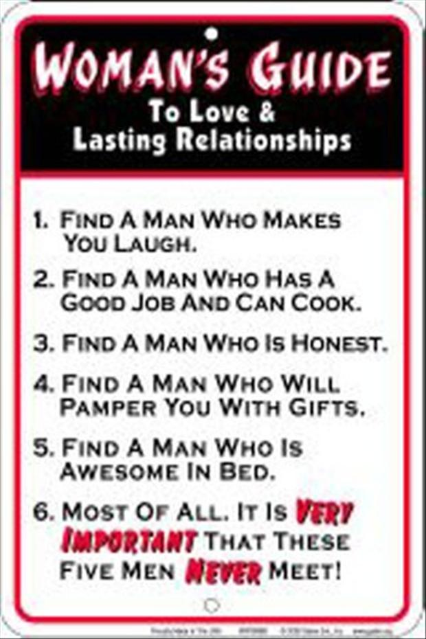 Long Funny Quotes About Love : womans guide to long lasting relationships, funny - Dump A Day