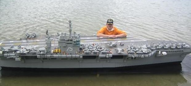aircraft carrier, made from legos