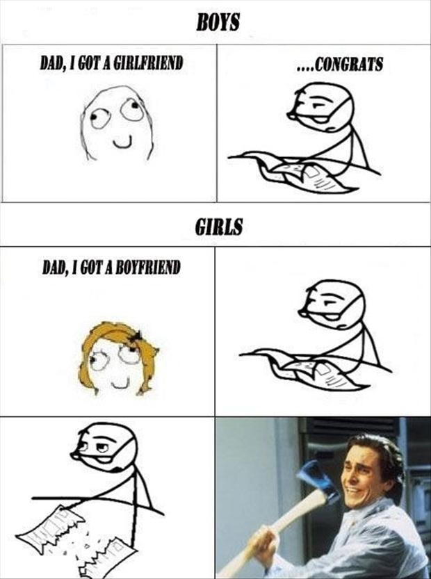 boys vs girls, funny rage comic - Dump A Day