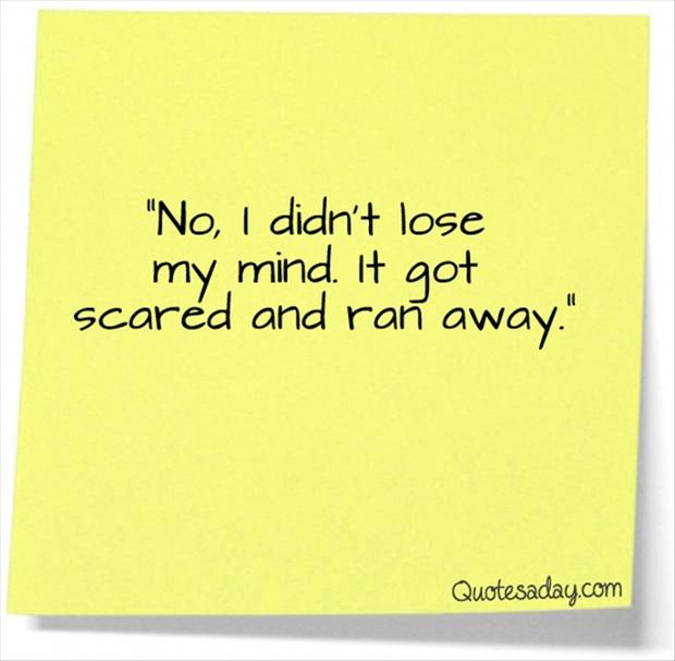 Funny Scared Quotes: Funny Quotes, No I Didnt Loose My Mind, It Got Scared And