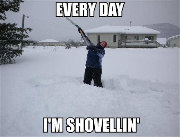 funny shoveling snow