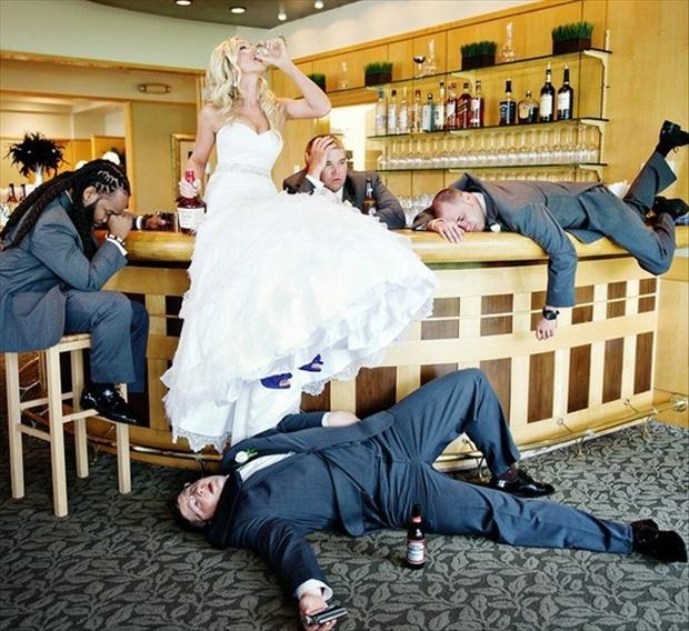 Funny Wedding Pictures Drinking After Party