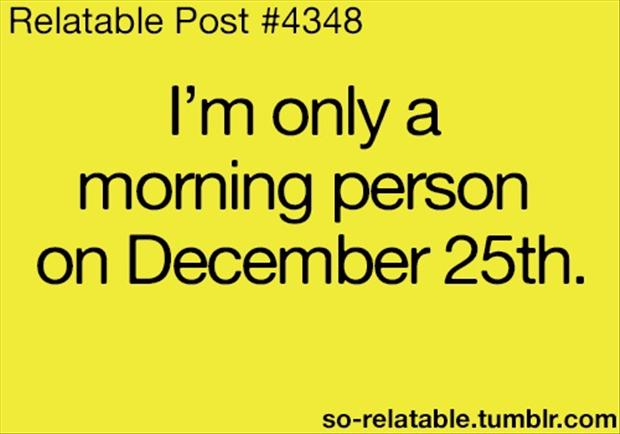 i am only a morning person on december 25, funny quotes ...