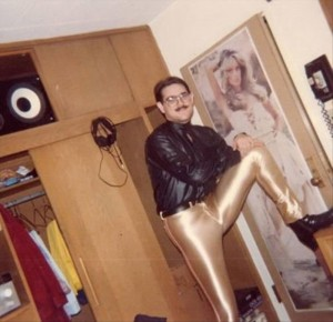 man wearing gold pants