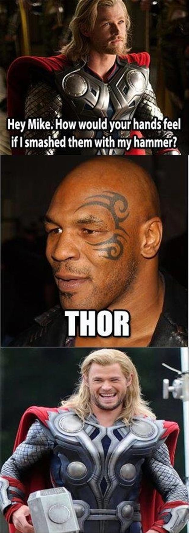 mike tyson, thor, funny pictures