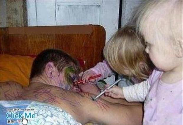 1 kids drawing on dad, funny pictures