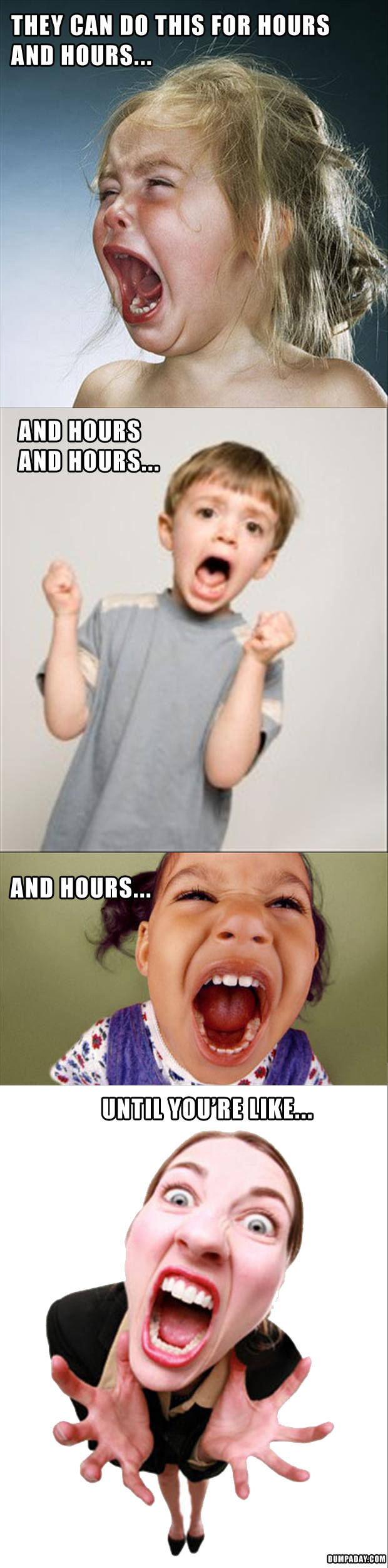 15 kids screaming, makes parents crazy, funny pictures
