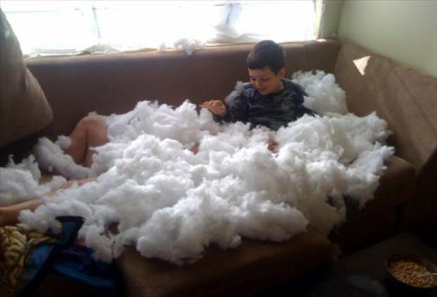 2 boy destroys couch