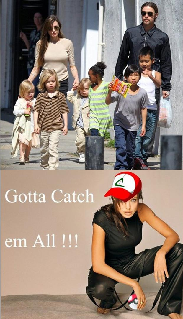 2 funny Brad Pitt, Angelina Jolie, kis, pokemon, gotta catch em all