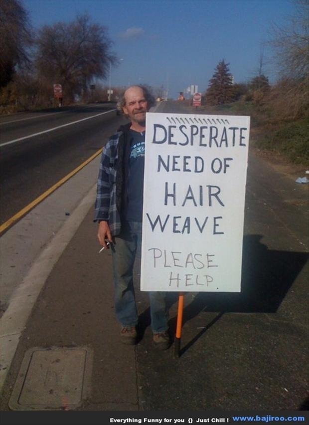 3 funny homeless man signs