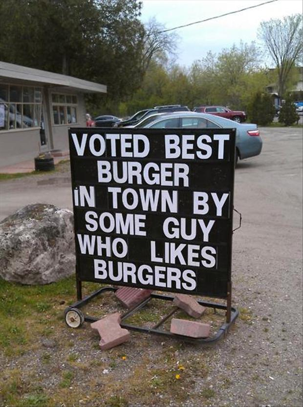 4 best burger in town, funny signs
