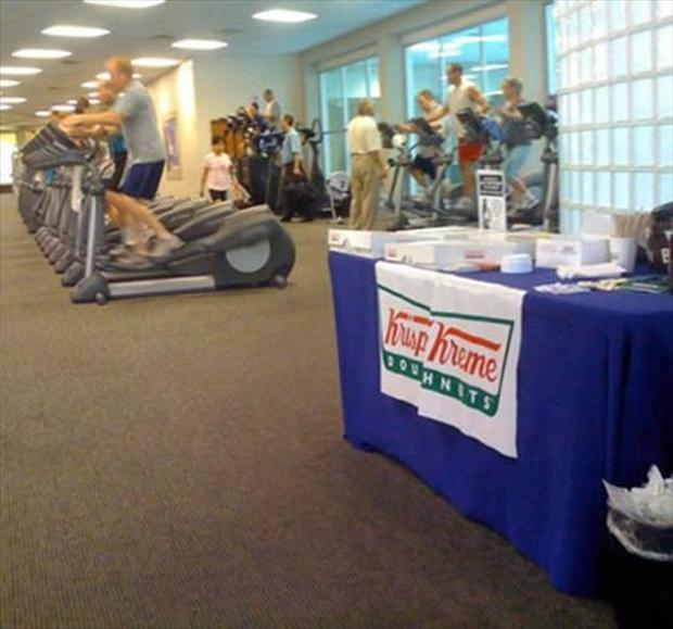 4 funny gym, fitness, krispy creme donuts