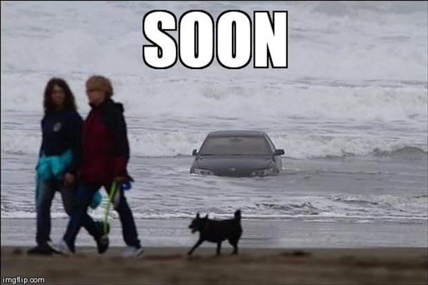5 soon, car in the ocean