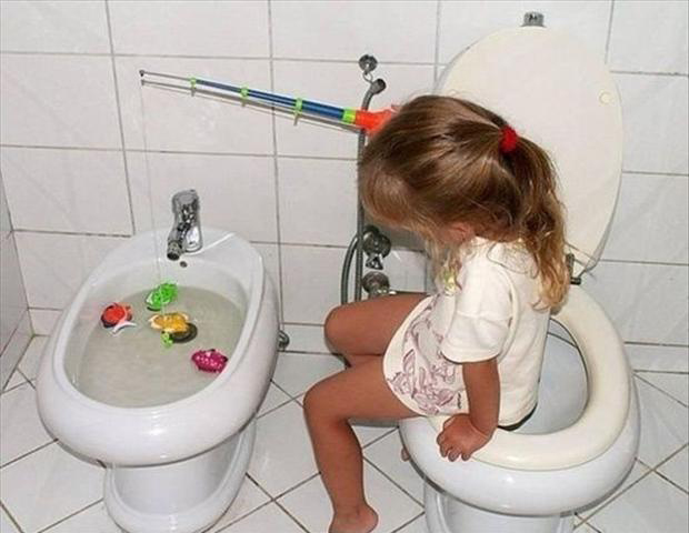 6 funny kids, fishing in the toilet