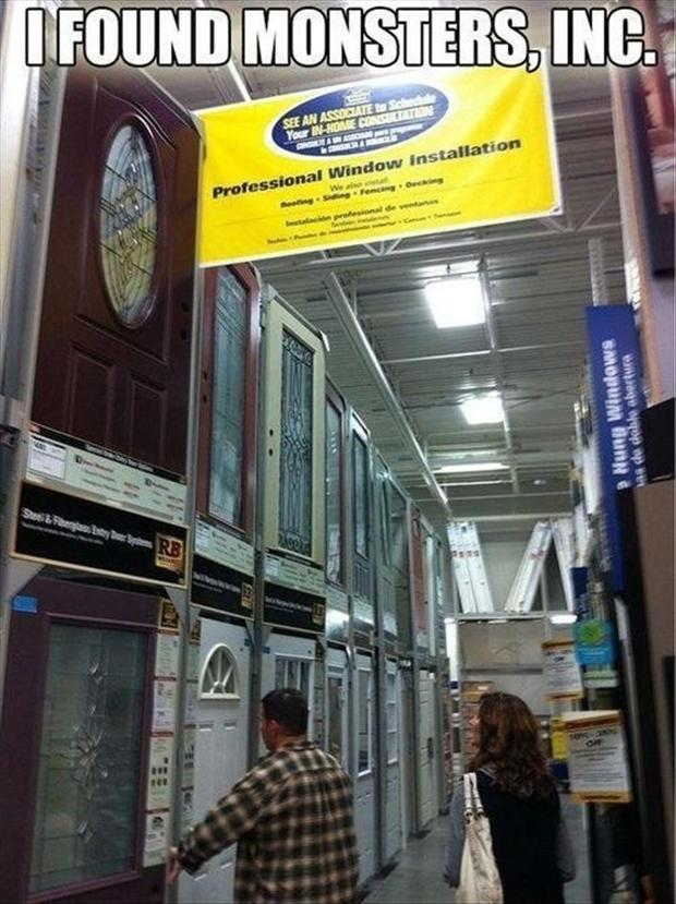 6 monsters inc, funny doors in lowes