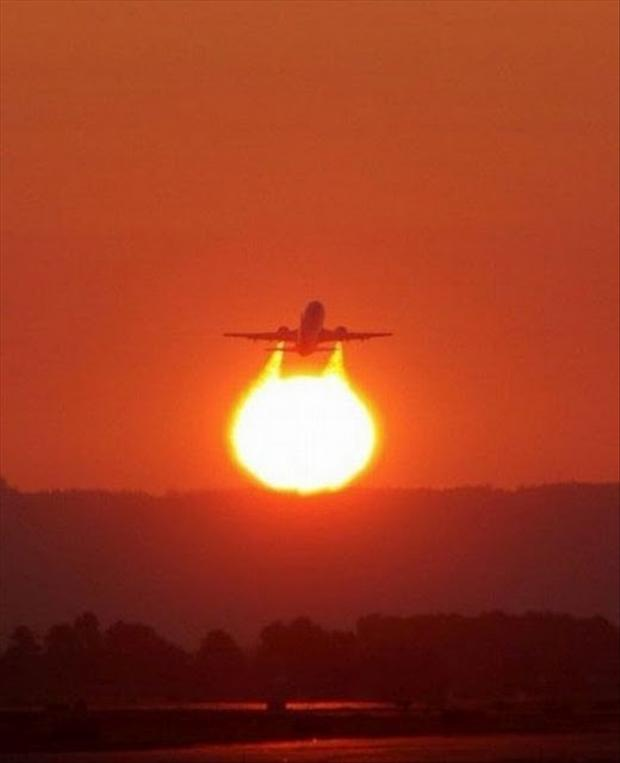 6 perfectly timed pictures, plane taking off
