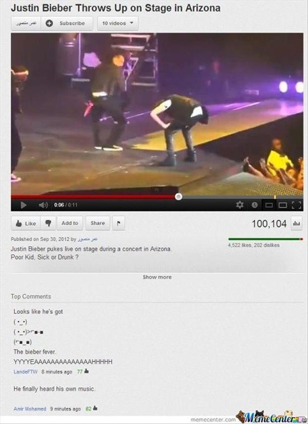 Justin Bieber throws up on stage, funny pictures