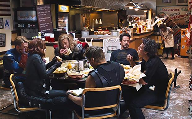 a lunch, behind the scenes of the avengers movie