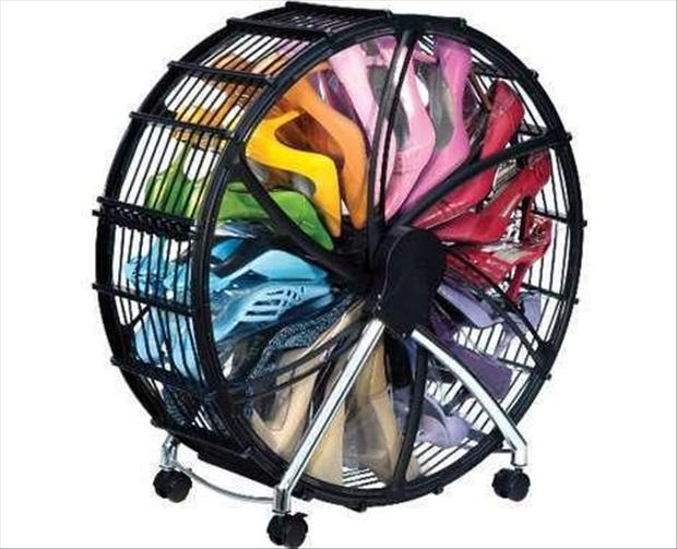 a spinning wheel, shoe rack