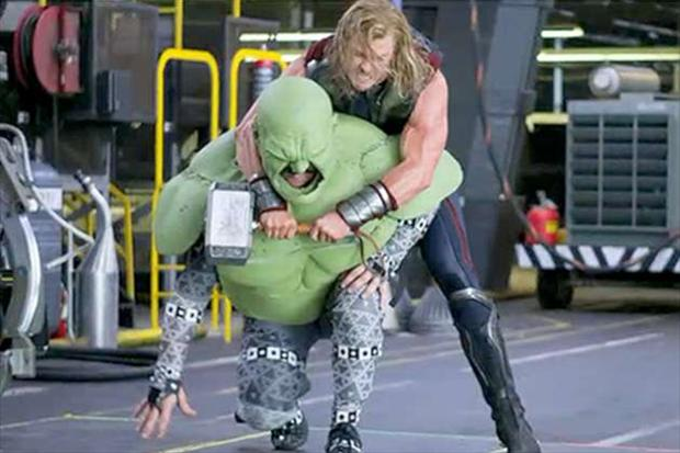 a thor and the hulk fight, making of the avengers