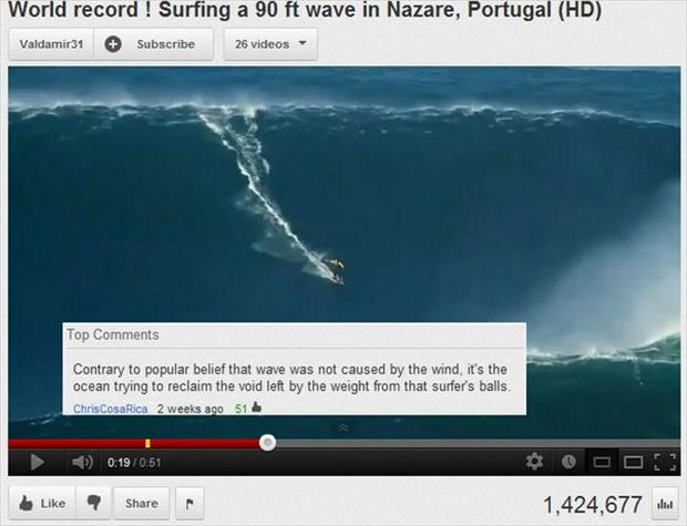 a world record wave, surfer, funny youtube comments