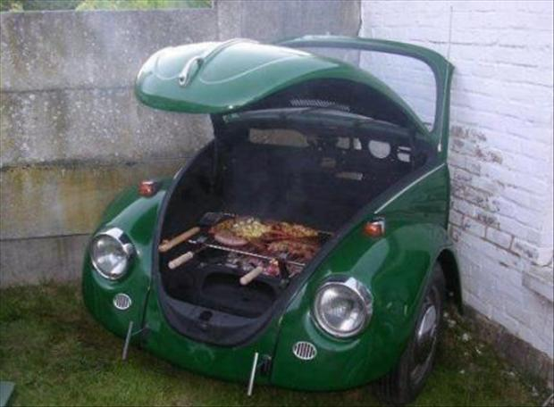 amazing bbq, front end of a car