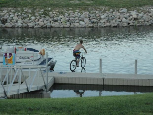bike on water, perfectly timed photos