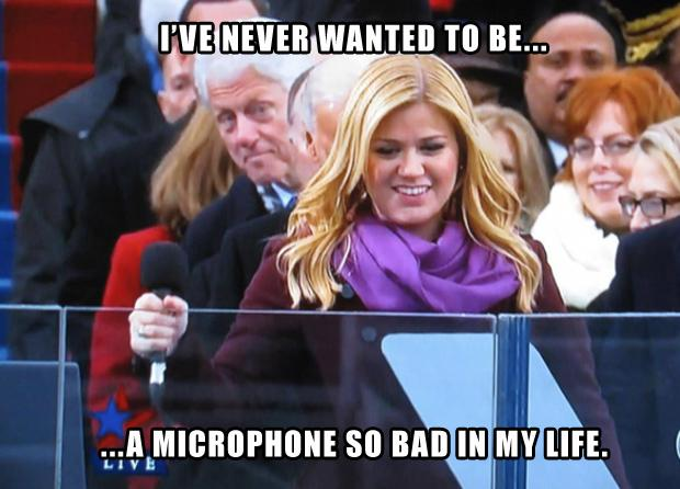 bill clinton, kelly clarkson, funny, never wanted to be a microphone so bad in my life