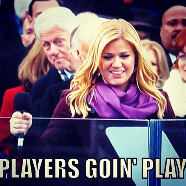 bill clinton, kelly clarkson, players going to play