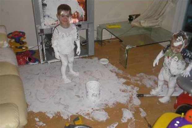 boy makes a mess