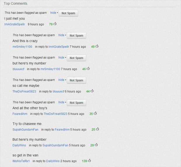 call me maybe, funn youtube comments